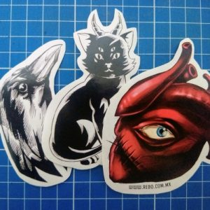 stickers monsters raven cat heart