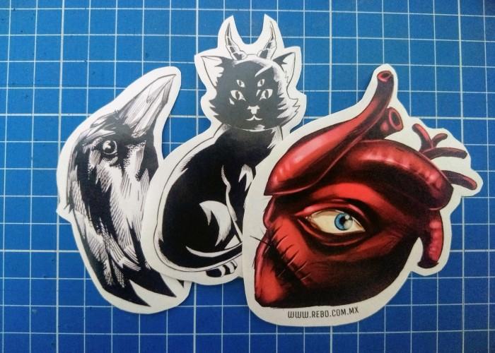 stickers monsters raven cat heart
